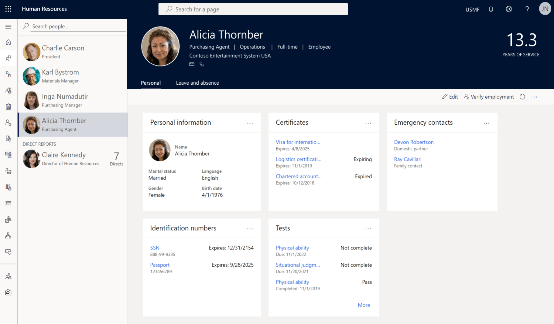 dynamics 365 human resources personal information