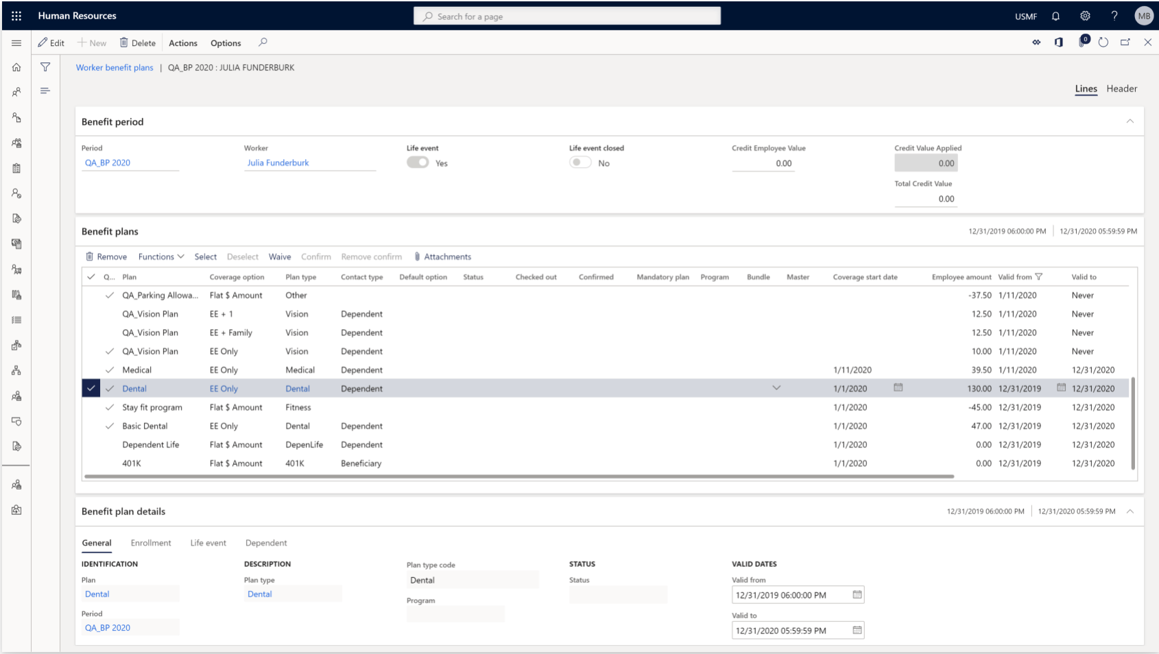 dynamics 365 worker benefit plans