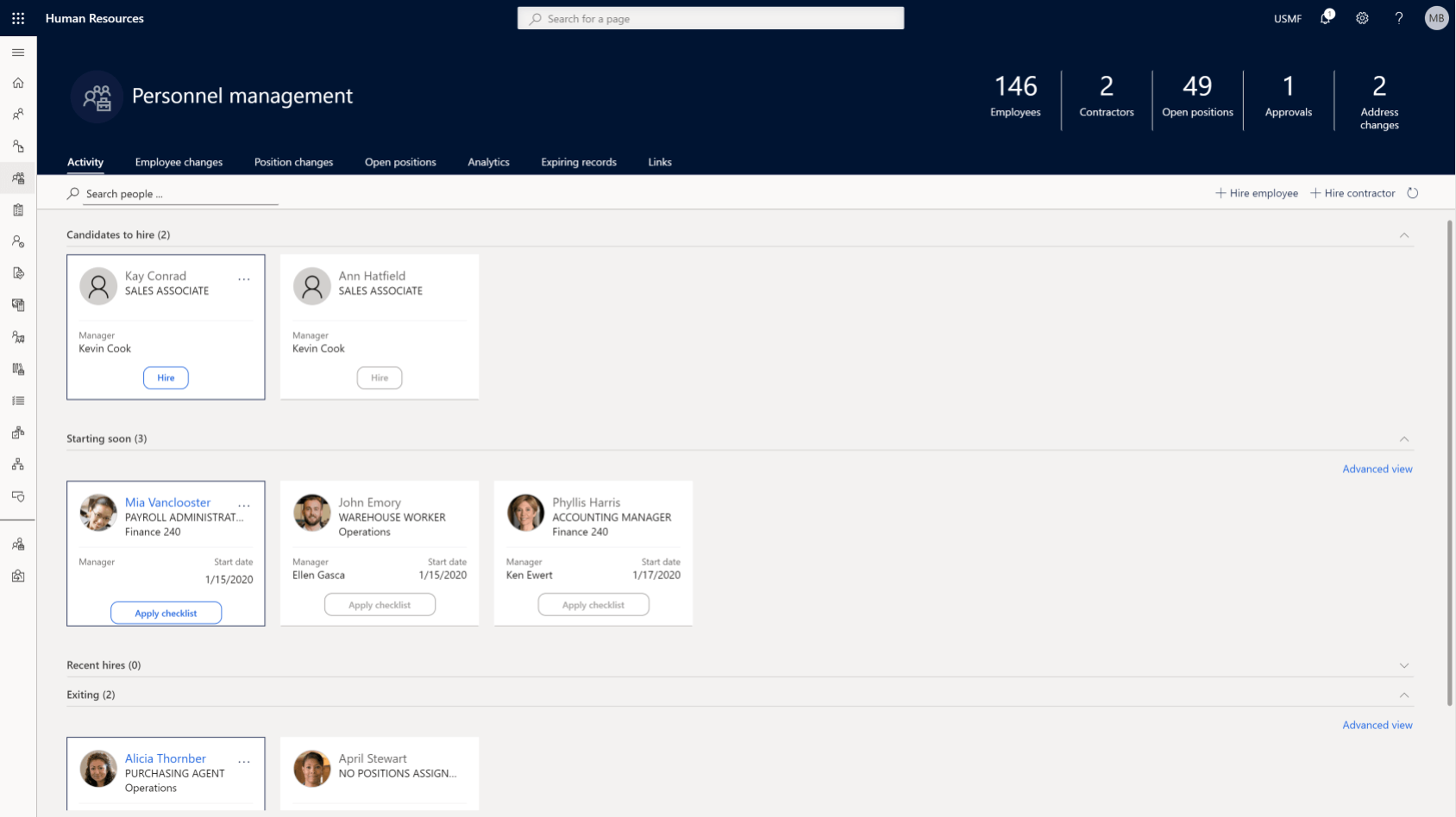 dynamics 365 personnel management