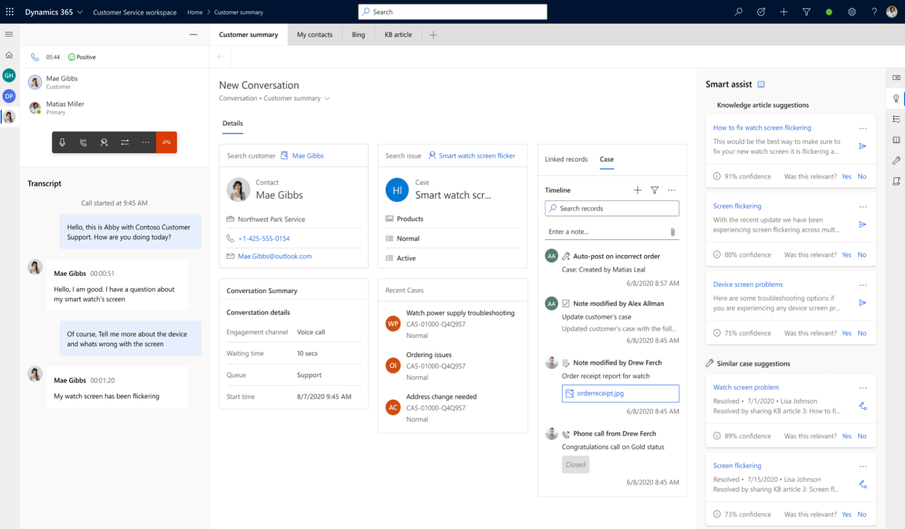 dynamics 365 customer summary communication