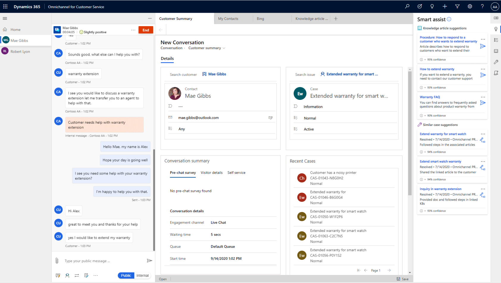 dynamics 365 new conversation