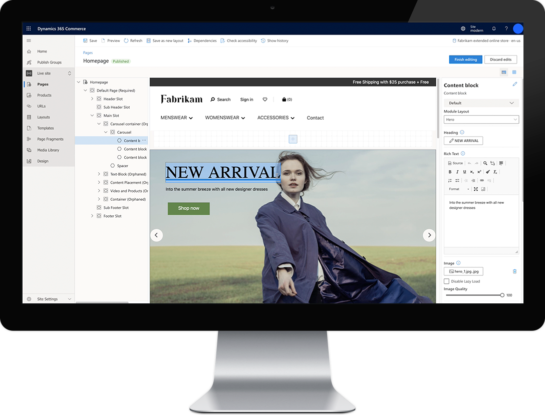 dynamics 365 commerce homepage