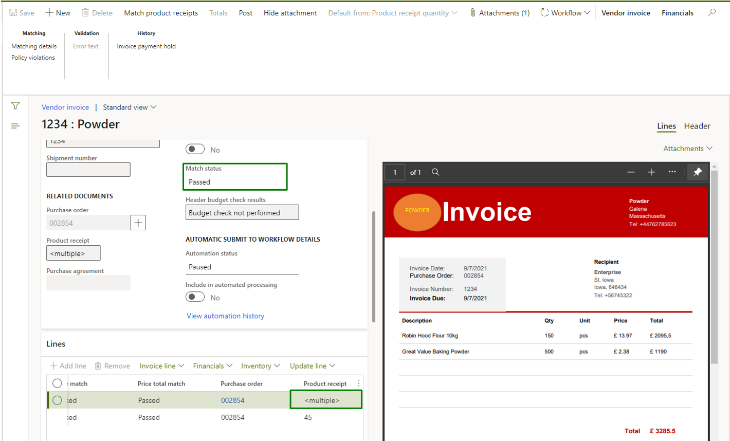 Vendor invoice automation_Pic. 7 – Vendor invoice side by side view (revision after matching)