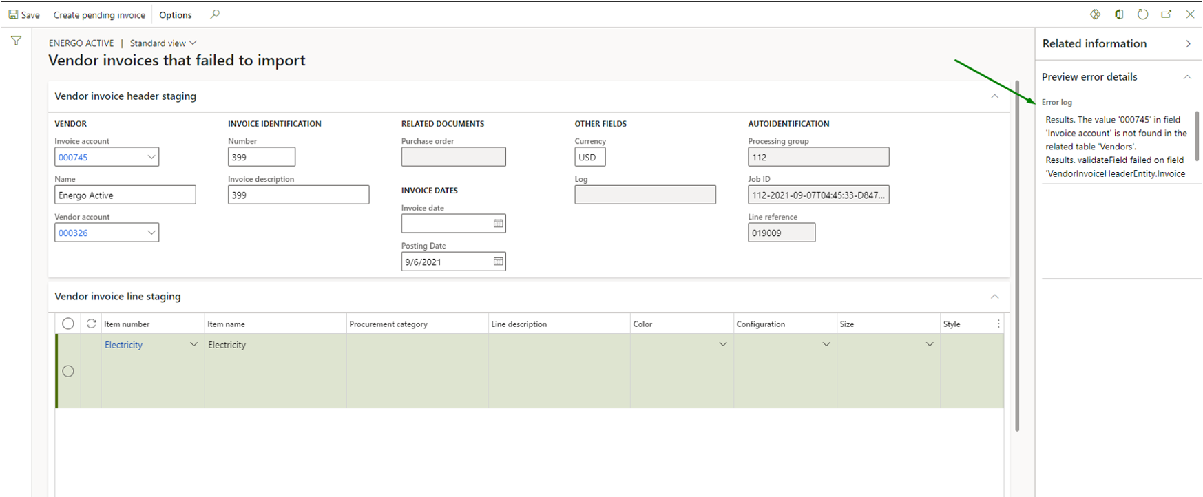 Vendor invoice automation_Pic. 8 – Vendor invoices that failed to import view