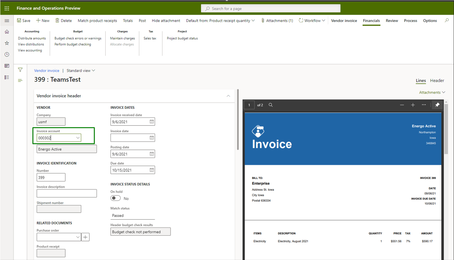 Vendor invoice automation_Pic. 9 – Vendor invoice side by side view (making changes)