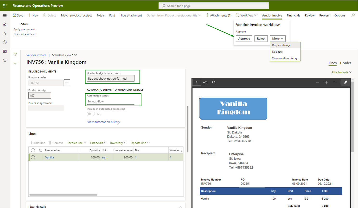 Vendor invoice automation_Pic. 10 – Vendor invoice side by side view (approval)