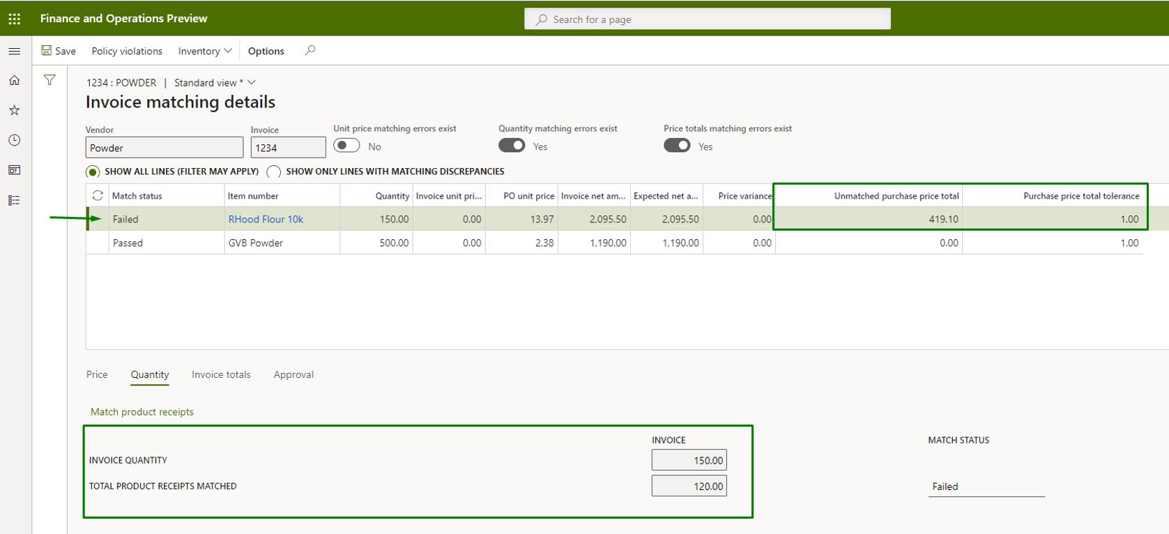 Vendor invoice automation_Pic. 5 – Invoice matching details view