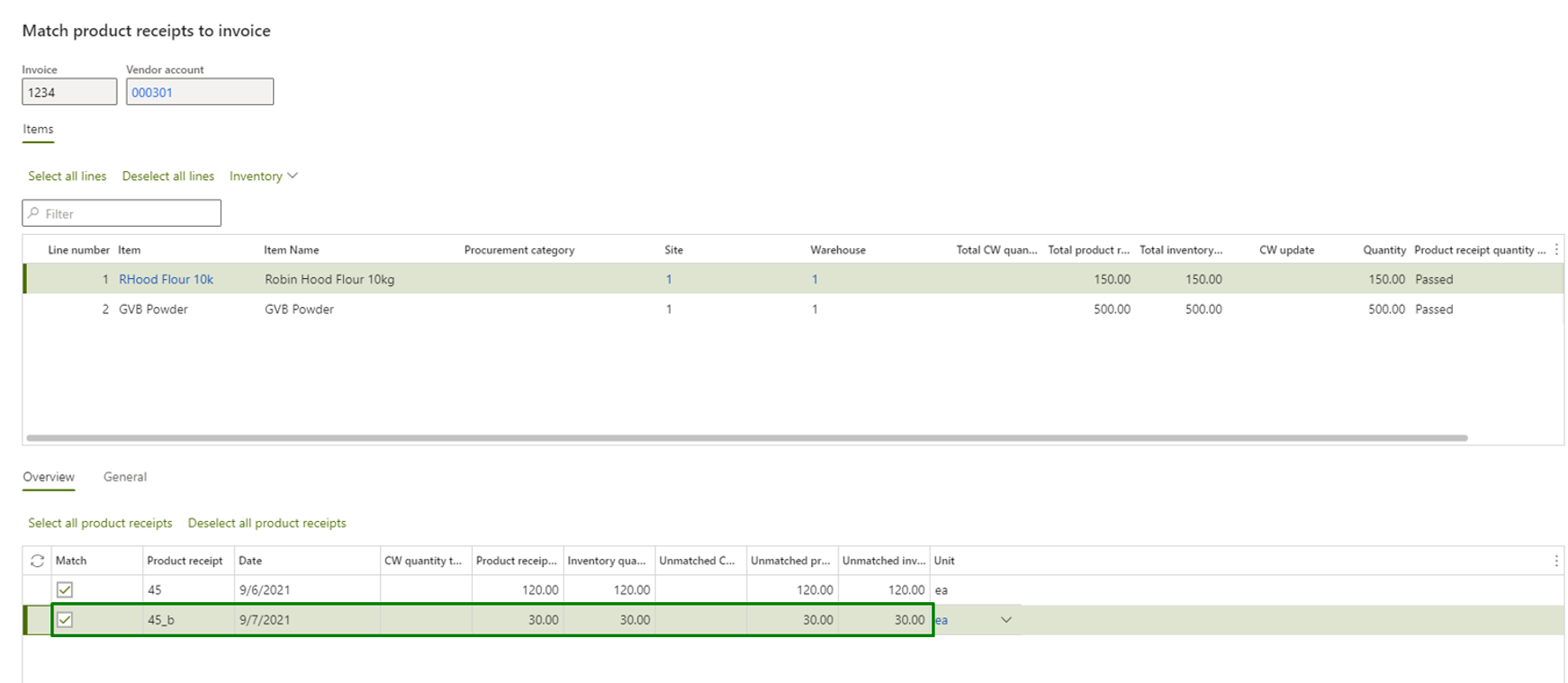 Vendor invoice automation_Pic. 6 – Matching invoice lines to receipt lines